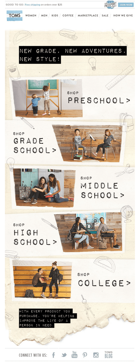 TOMS' Back-to-School campaign
